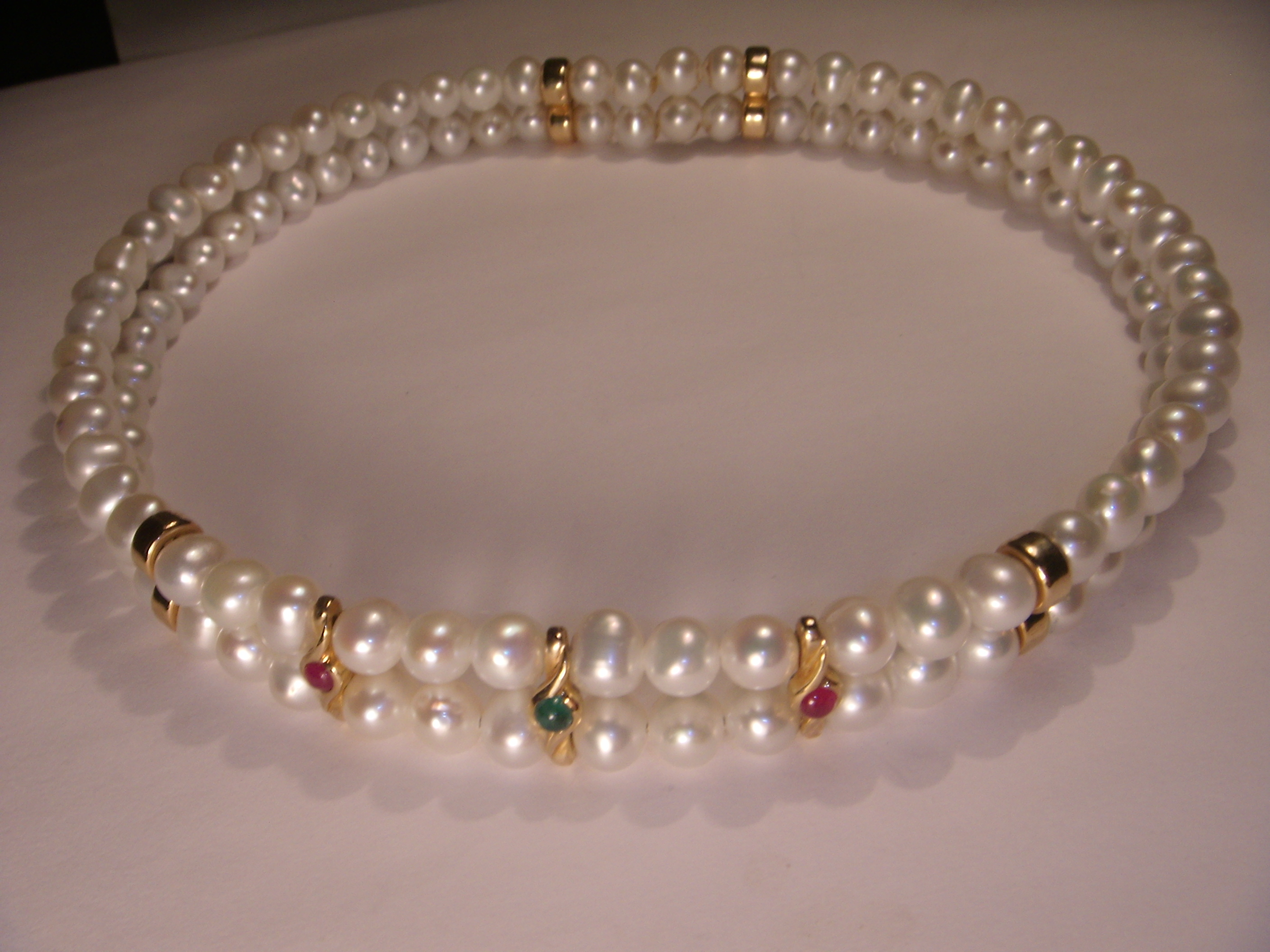 Unique 14k Yellow Gold Pearl Emerald Ruby Designer Chocker Necklace This  Stunning Piece Features Double Row Of Pearls With Cabochon Rubies And  Emerald