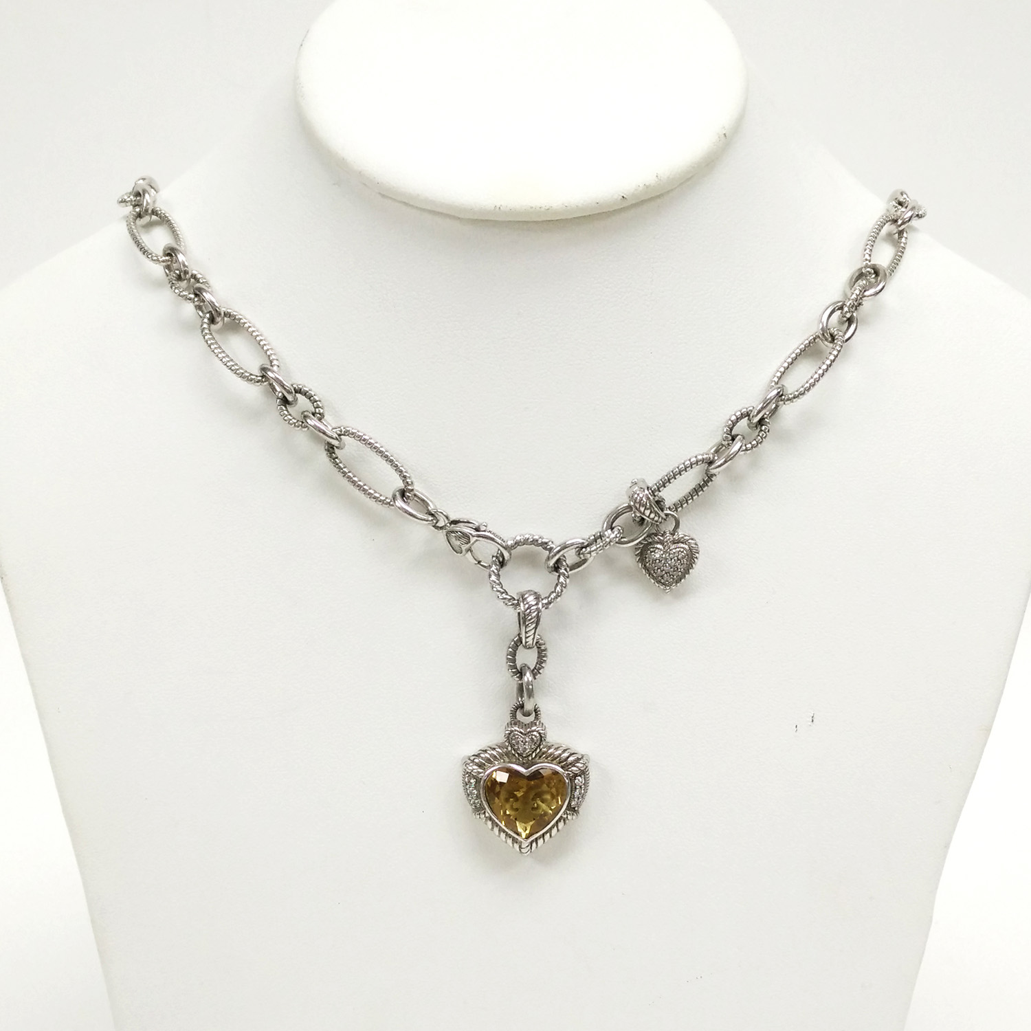 Judith Ripka Sterling Silver Necklace w Citrine Heart Enhancer