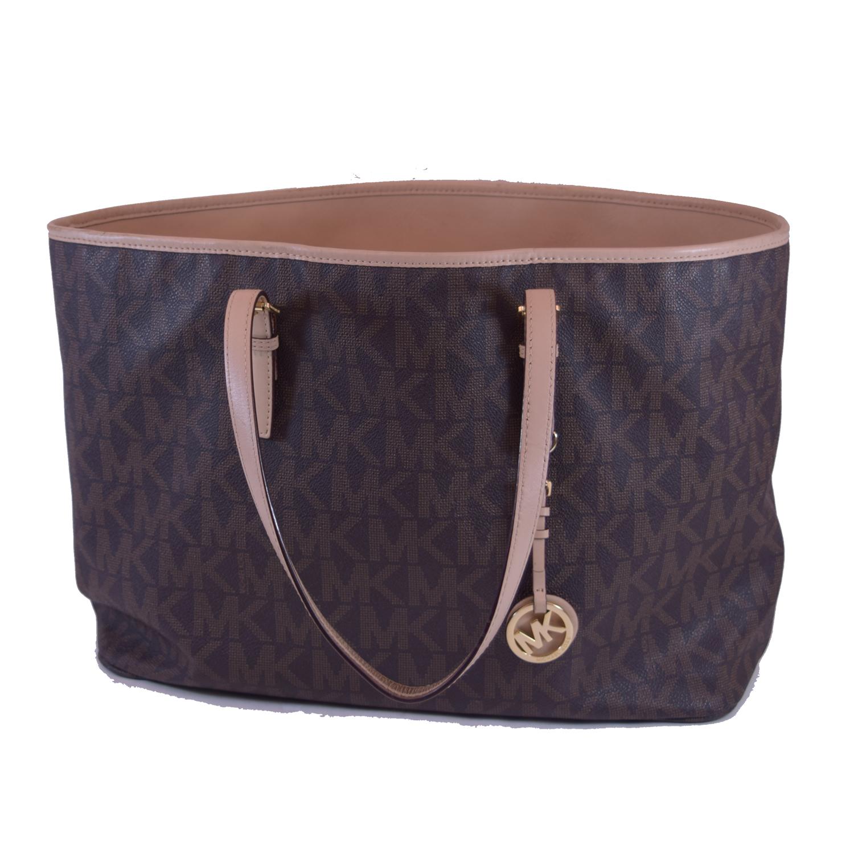 michael kors jet set brown leather trim tote bag ebay. Black Bedroom Furniture Sets. Home Design Ideas