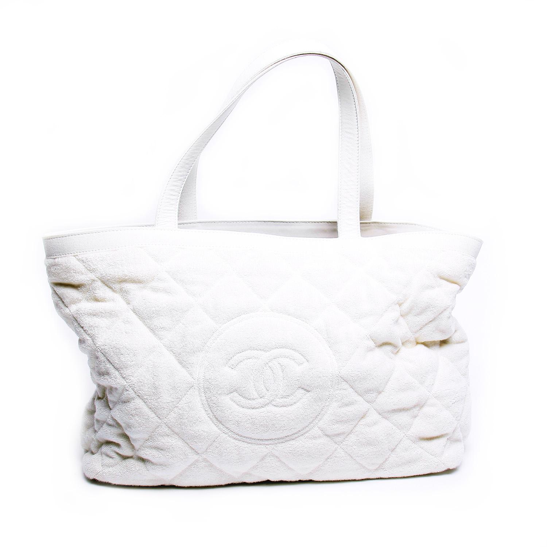 Chanel CC White Terry Cloth Cotton Beach Tote Bag | eBay