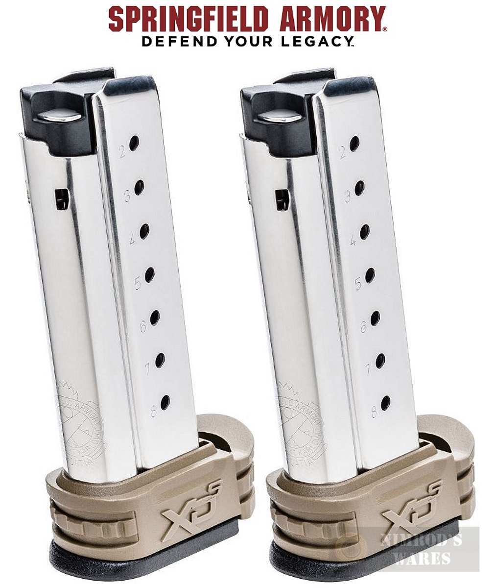 TWO Springfield XD-S 9mm 8 Round MAGS w/X-Tensions-img-0