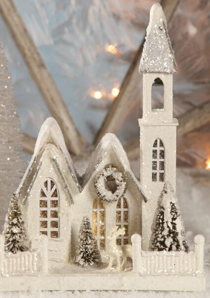 "Bethany Lowe 11"" White Christmas Village Mantel Church ..."