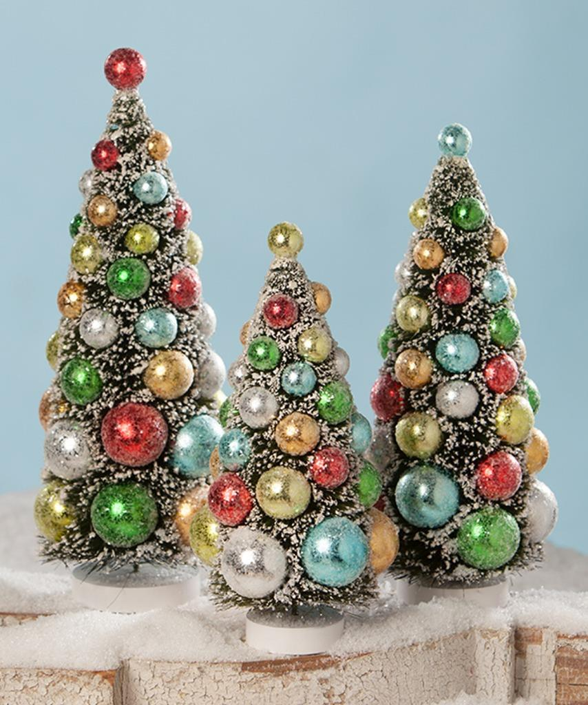 Bethany Lowe 9 11 And 13 Green Bottle Brush Tree Set In Bright Color Balls Ebay