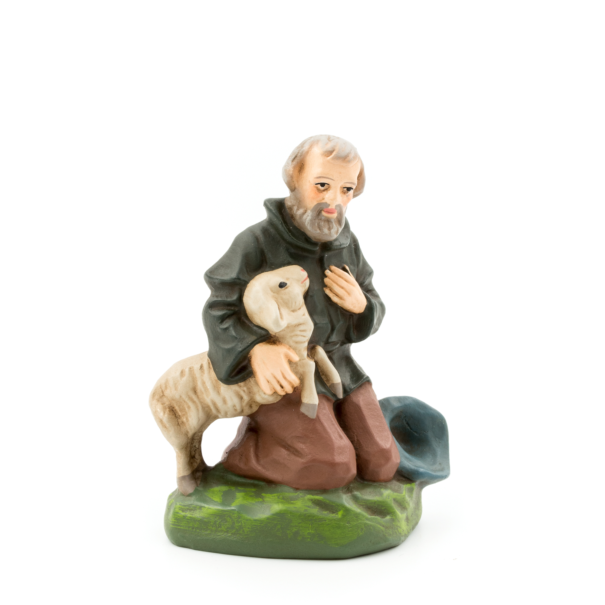 Marolin Paper Mache Shepherd Kneeling With Sheep 3 5 Mini Nativity Figure Ebay