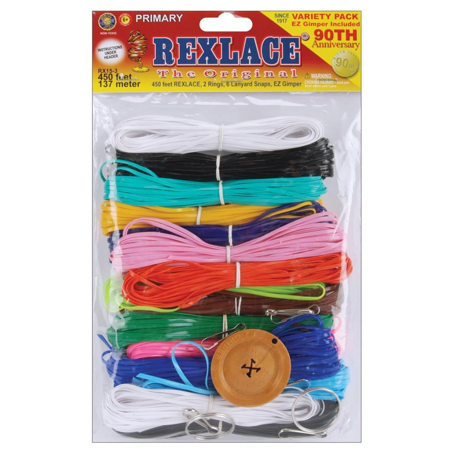 Rexlace Plastic Craft Lace Lanyard Cord Primary Colors Kit 450 Feet Rx 153 Ebay