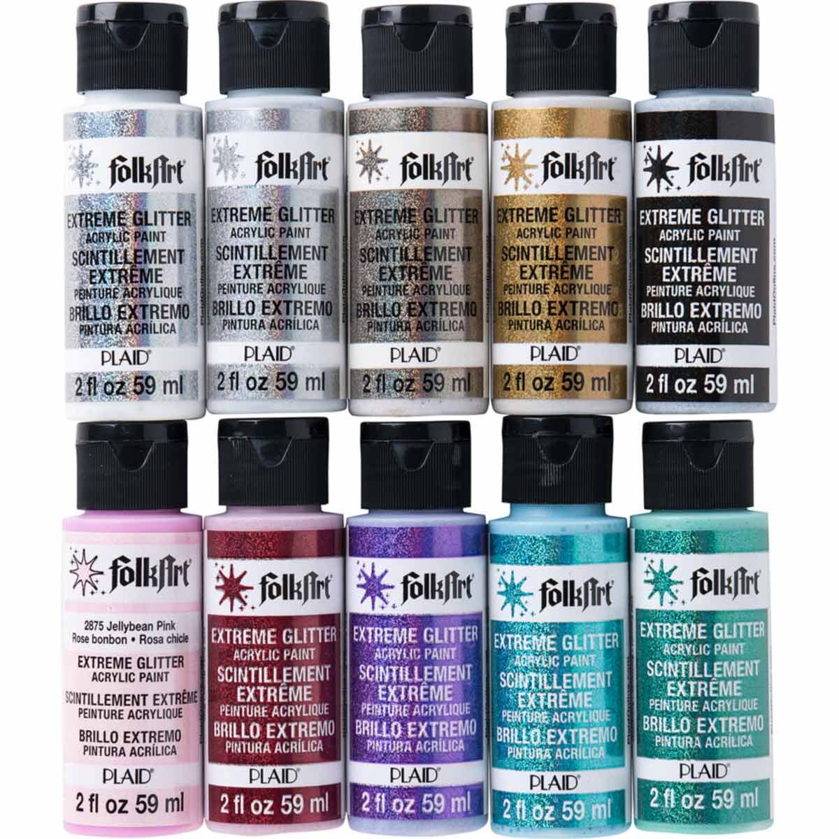 Details About Folkart Promofaglt Extreme Glitter 10 Pc Paint Set