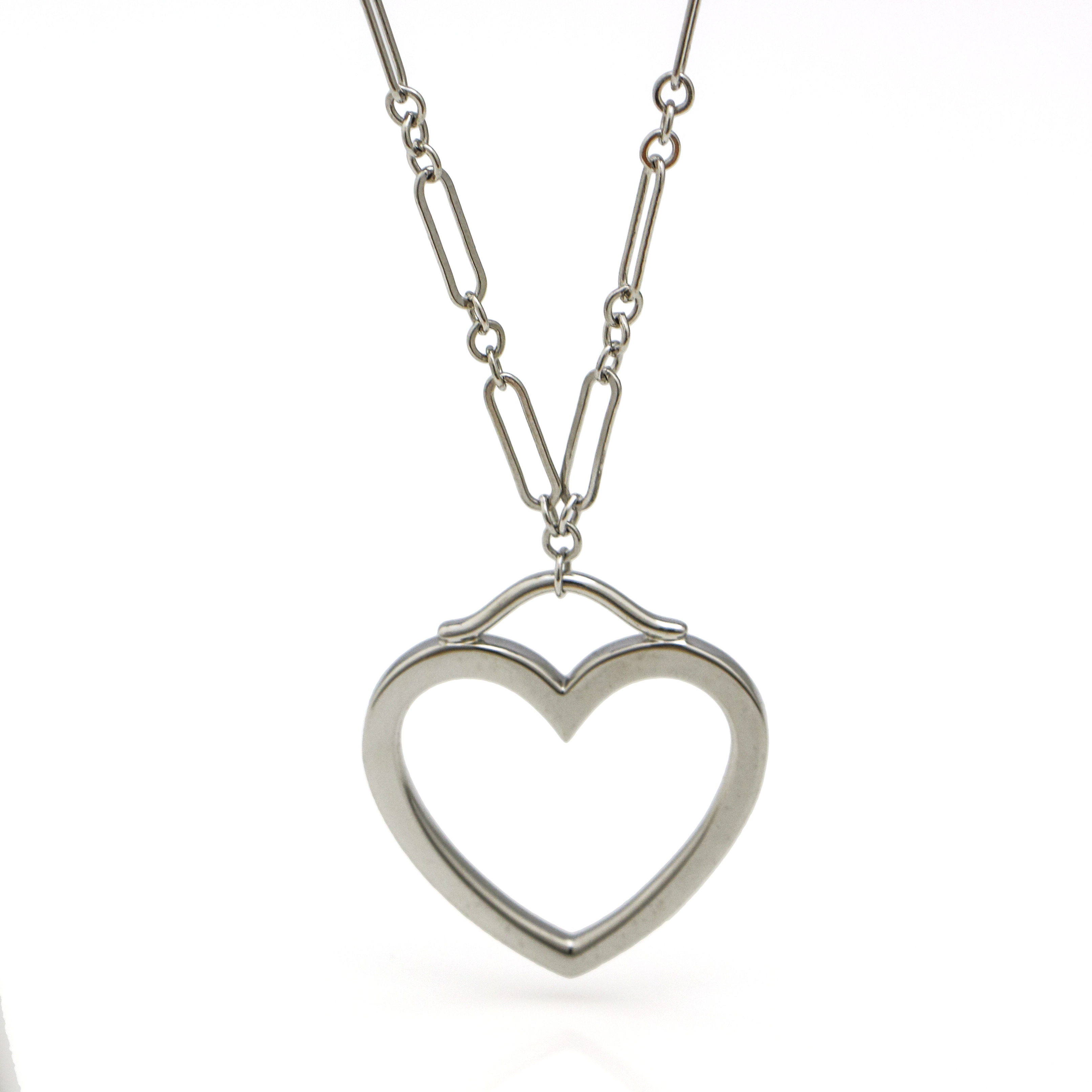 4b556dcc7 Details about Tiffany & Co. 18k White Gold Large Heart Pendant Necklace