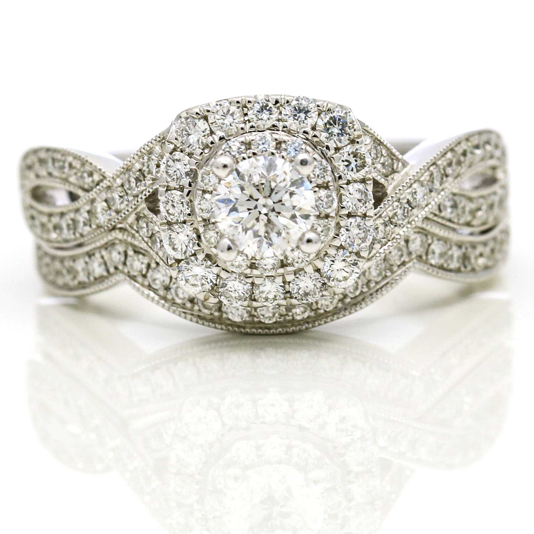 Neil Lane Diamond Engagement Ring And Wedding Band Set In 14k White Gold Ebay