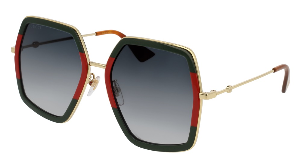 f33d57b6720 Authentic Gucci Sunglasses GG0106S-007 56mm Green Red Gold   Grey ...