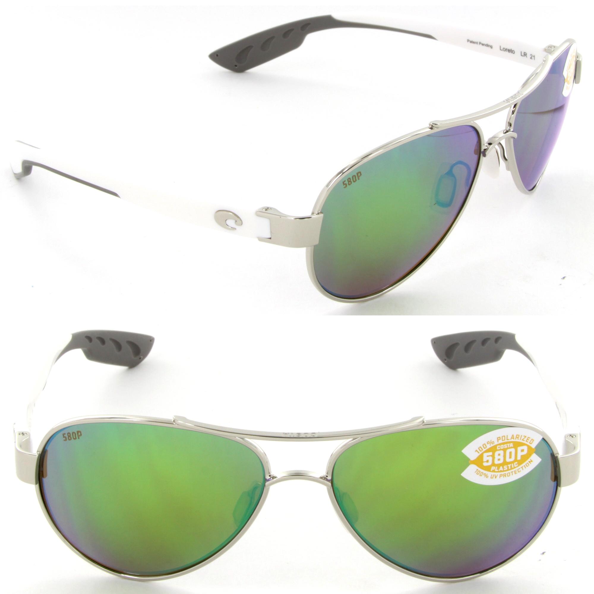 e926269b625e Costa Del Mar Loreto LR-21-OGMP Aviator Sunglasses Palladium/Green ...