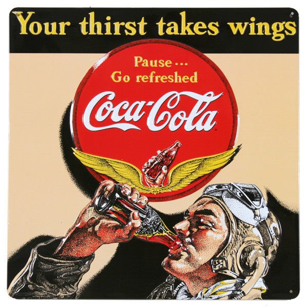 "Vintage Metal Sign /""Drink Pepsi Cola/"" 14/"" X 14/"" Gift For Pilots or Hangar"