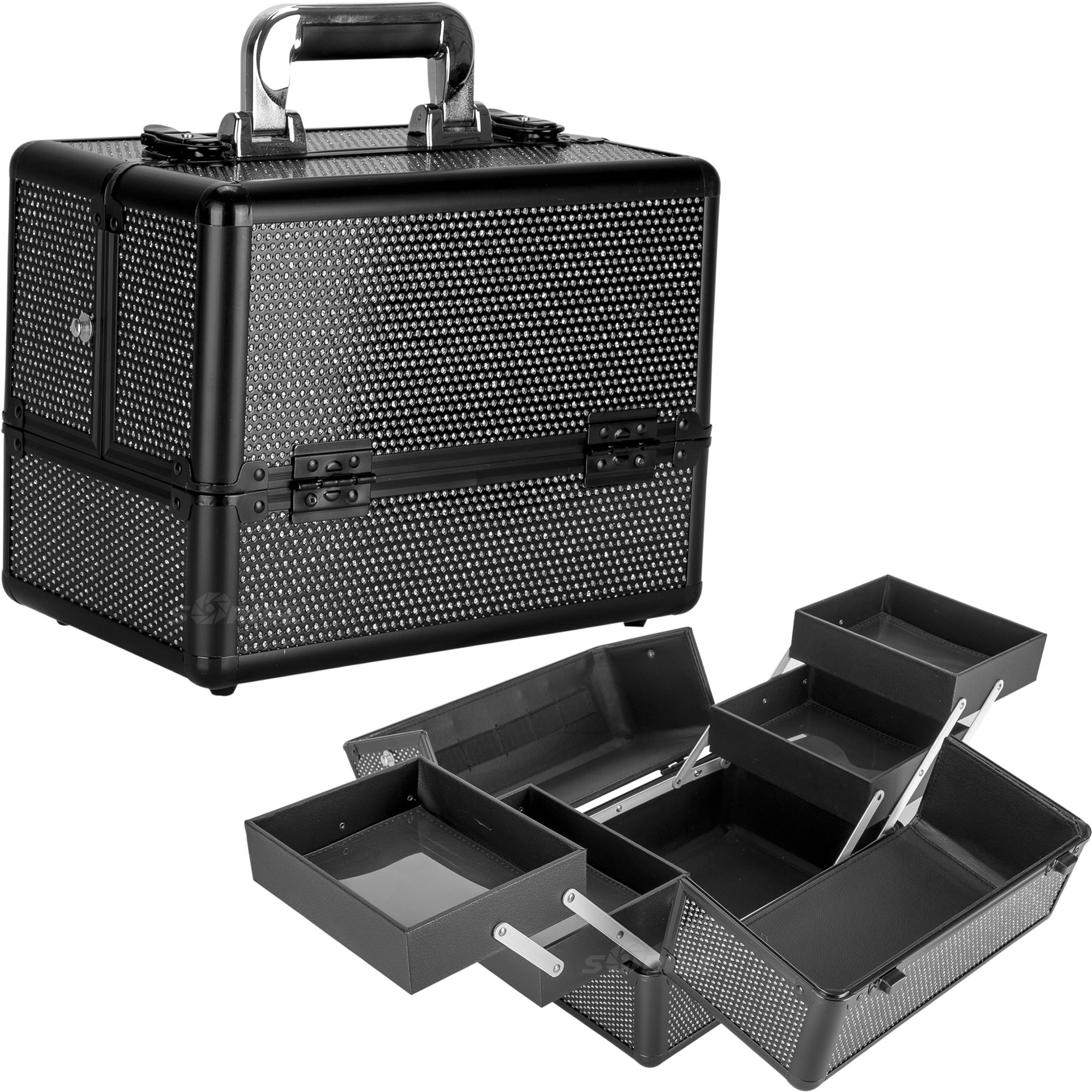 Details about Makeup Cosmetic Case 2 Tier Accordion Tray C4211 Portable  Beauty Krystal Storage