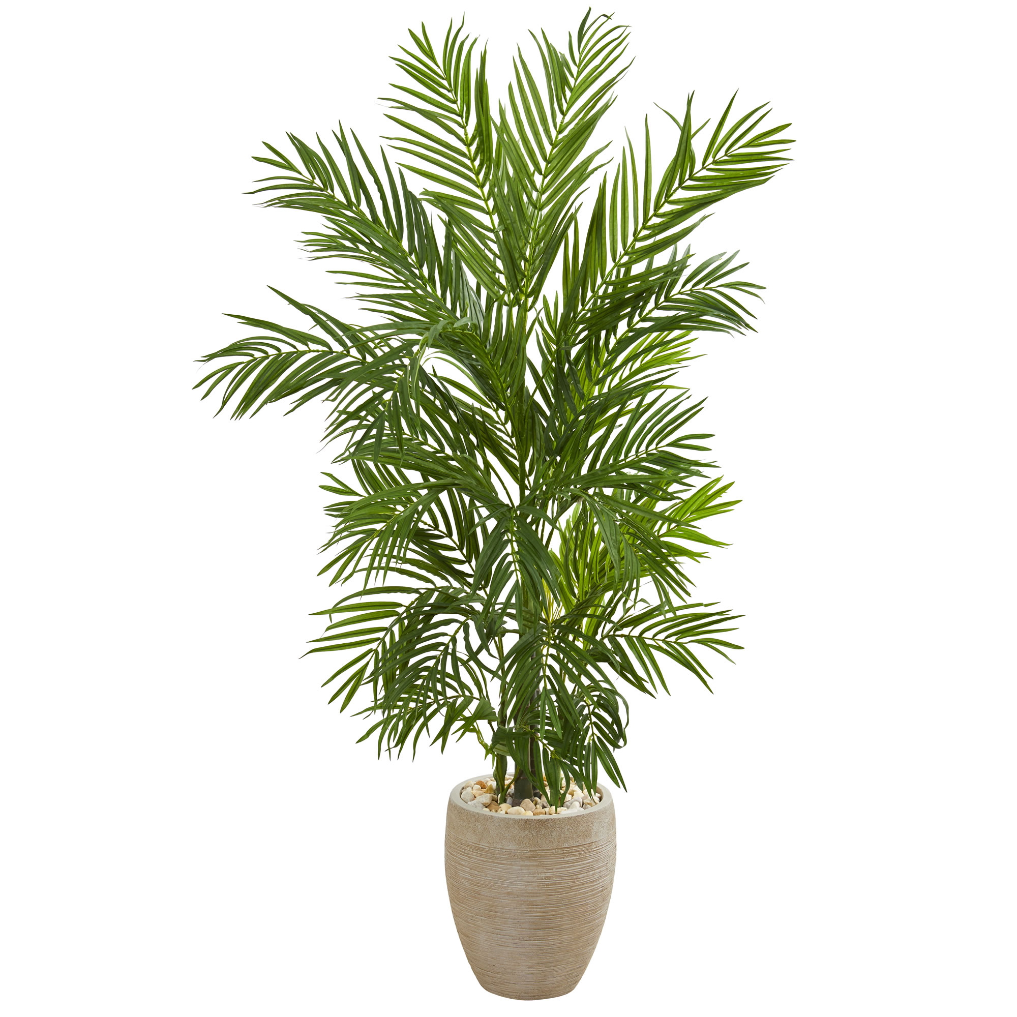 Areca Palm Artificial Tree In Sand Colored Planter Nearly Natural 5 Home Decor Ebay
