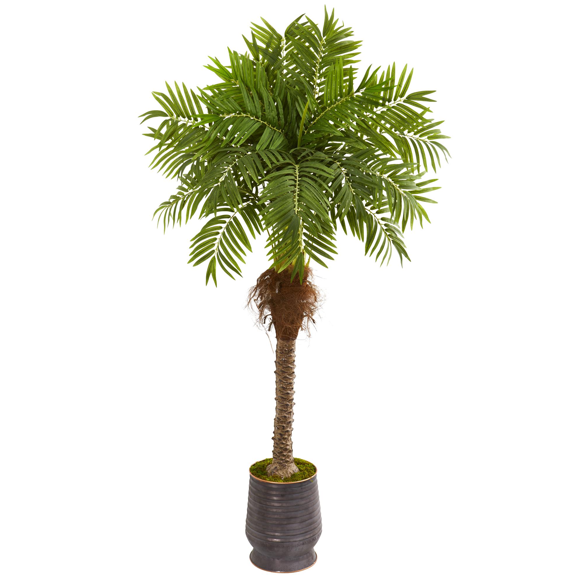 Nearly Natural 73 Robellini Palm Artificial Tree In Metal Planter Home Decor Ebay